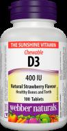Vitamín D3 400 IU pre deti žuvacie tablety Webber Naturals