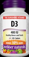 Vitamín D3 400 IU BONUS Webber Naturals