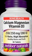 Calcium, Magnesium, Vitamin D3 pomer 1:1 Webber Naturals