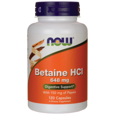 Betaín HCl 648 mg + Pepsín 150 mg Now Foods