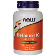 Betaine HCl 648 mg + Pepsin 150 mg Now Foods