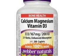 Calcium, Magnesium, Vitamin D3 333 mg/167 mg/200 IU Webber Naturals