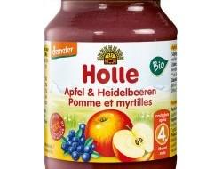 HOLLE detská výživa jablko a čučoriedky (od ukončeného 4 mesiaca)