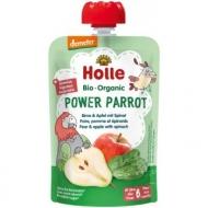 HOLLE Detské bio pyré jablko, hruška a špenát od 6 mesiaca Power Parrot