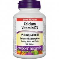Calcium, Vitamín D3 650 mg/400 IU Webber Naturals